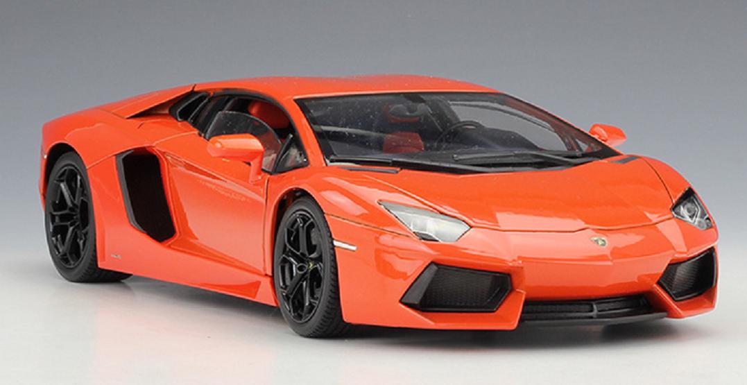 Welly 1 18 Lamborghini Aventador LP700-4 Racing Diecast Model Car Orange