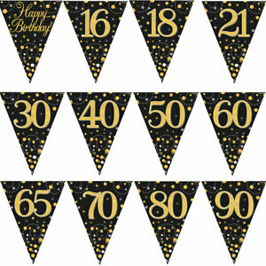 12FT-3-9M-Birthday-Party-Sparkling-Bunting-Black-Gold-Fizz-Flag-Banner-Age-Ages