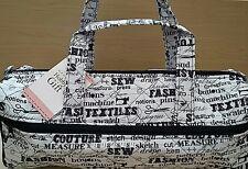 Hobby Gift-Knitting/Crochet/Project-Hold All Style Bag-Black on White