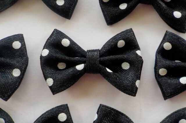 50! Beautiful Satin Bow Ties - Black With White Polka Dot Bows - 35mm/1.3""