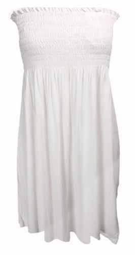 Ladies Sheering Boob Tube Gather Bandeau Ruched Top Summer Mini Dress Size 8-26