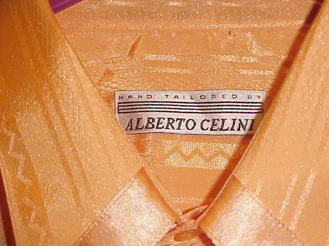NEW MENS ALBERTO CELINI orange TONE ON TONE SHIRT MADE IN ITALY FRENCH CUFF  LG.