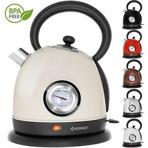 KESSER® Wasserkocher 1,8 Liter 2200W Teekocher Edelstahl Retro Design Kocher Tee