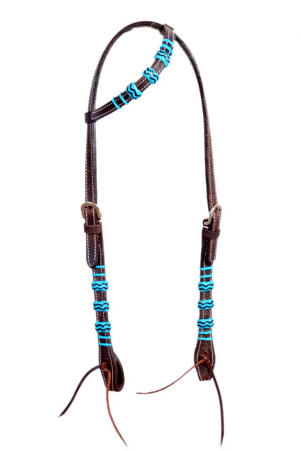 Western Dark Oil One Ear Rawhide Braided Headstall with Leather Ties