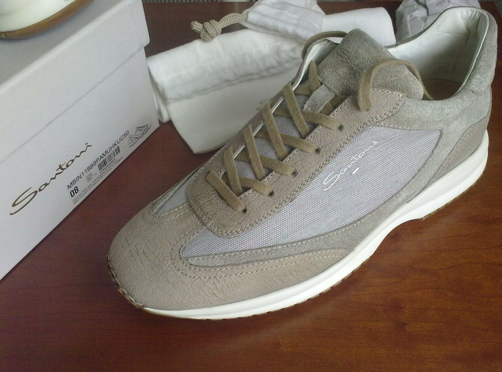SANTONI,LIGHT BROWN/green/GREY LEATHER/suede/CANVAS,size 42 ITA-8 UK