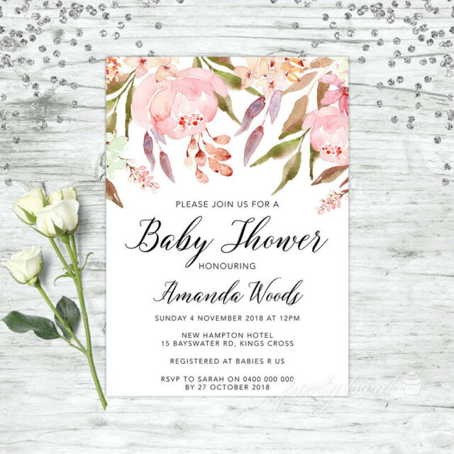 Baby Shower Invitation Personalised Party Supplies Floral Invite Pink Girl Boho