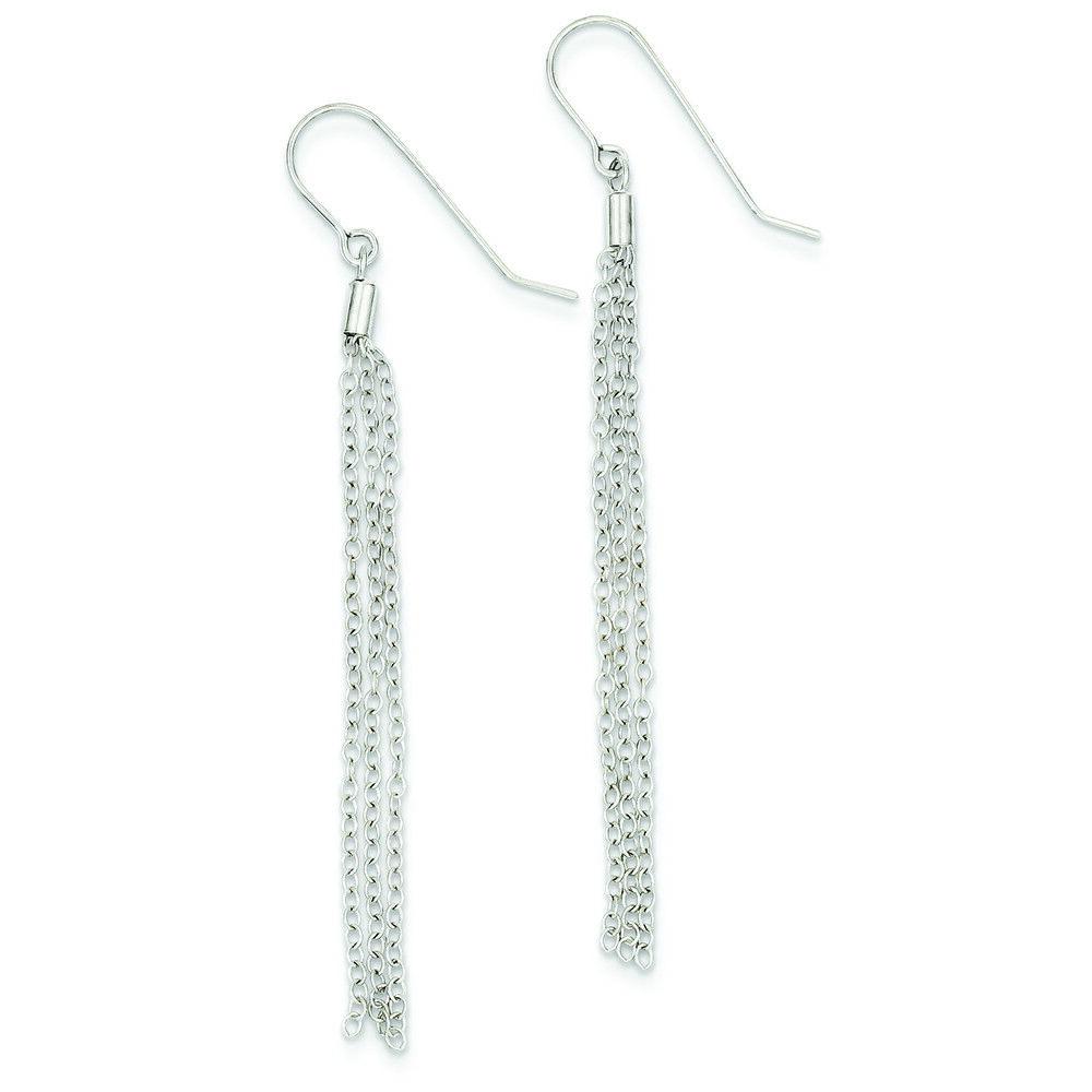 14K Yellow gold Diamond-Cut Chain Tassel Dangle Shepherd Hook Earrings MSRP  276