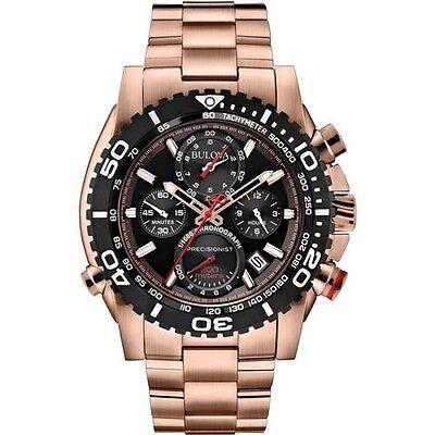 New Bulova 98B213 Precisionist Chronograph Rose Gold Tone Men's Watch