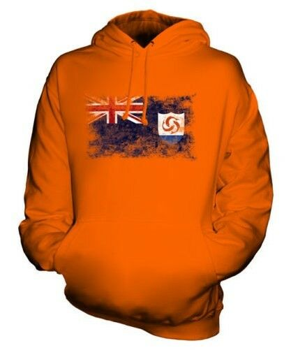 ANGUILLA DISTRESSED FLAG UNISEX HOODIE TOP ANGUILLAN FOOTBALL JERSEY GIFT