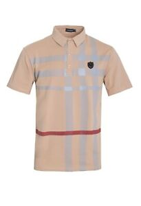 New-Mens-Short-Sleeve-Polo-Shirt-Slim-Fit-Stretch-Khaki-Gray-and-Red-Checkered