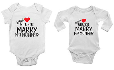 Marriage Proposal Baby Grow Sleep Suit Mummy will you Marry Daddy