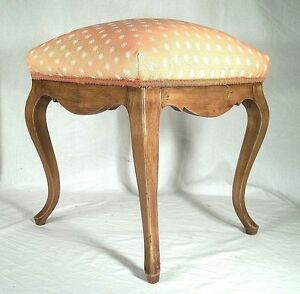 VINTAGE-EARLY-20th-CENTURY-CURVED-LEG-LOUIS-XV-UPHOLSTERED-FOOTSTOOL