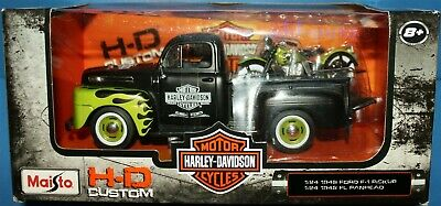 MAISTO 1:24 1948 FORD PICKUP /& HARLEY DAVIDSON  WLA FLATHEAD GREY 32185