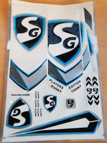 3D//EMBOSSED SG BLACK//BLUE PLAYERS EDITION CRICKET BAT STICKER