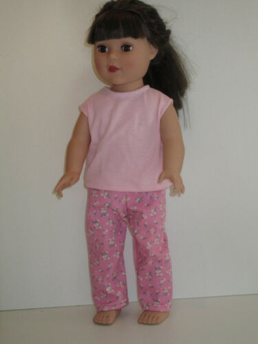 """Sleeveless Pink Top//Pink Flowered Jeans for 18/"""" Doll Clothes American Girl"""