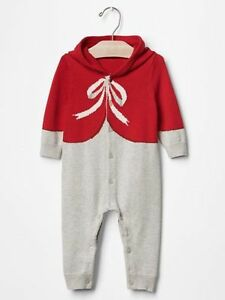 1ea3bc8131c9 GAP Baby Boy   Girl Size 3-6 Months Red Bow Festive One-Piece ...