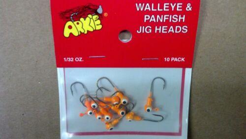 JIG HEADS 1//32 OZ. ARKIE LURES ORANGE K-10 10 WALLEYE /& PANFISH,