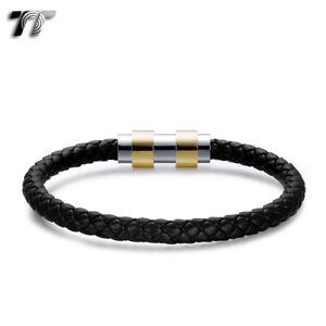 TT Black Leather 316L S.Steel Iron Cross Clip Buckle Bangle BR245 NEW