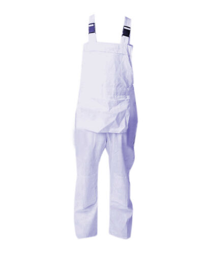 Woman Ladies Bib and Brace Overalls White Dungarees painters work Fancy dress