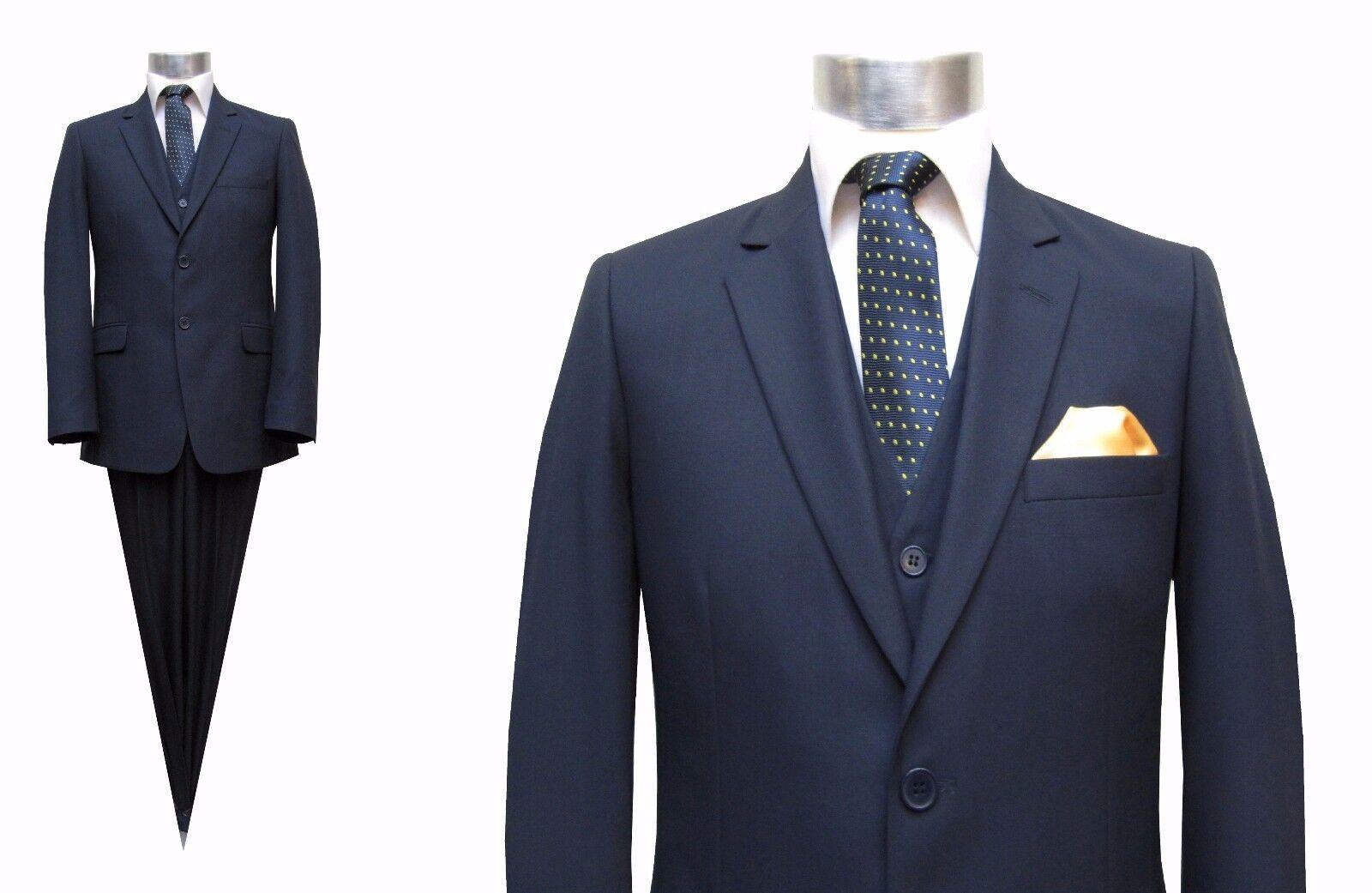 Herren Anzug mit Weste Elegant Gr.27 Dunkelblau