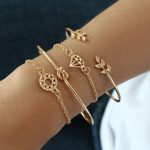 4PCS-Gold-Elegant-Women-Leaf-Knot-Simple-Adjustable-Open-Bangle-Gold-Bracelet-HS