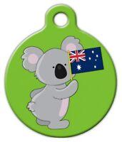 Koala Australian Flag - Custom Personalized Pet Id Tag For Dog And Cat Collars