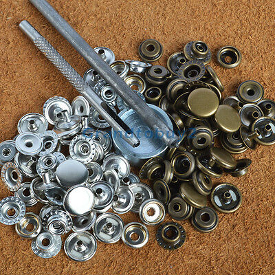 30 Sets 12.5mm Snaps Fastener Poppers Press Studs Kit Clothing Coat Buttons