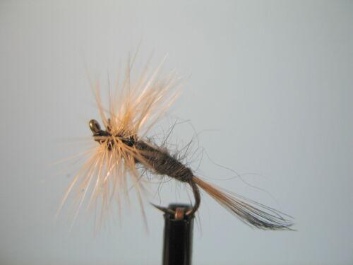 3 x gris Duster avec queue Dry Truite Mouches Tailles 12 14 16 18 Disponible