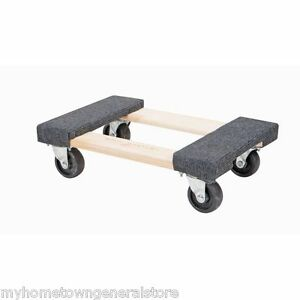 """1000 lb Capacity 12""""x18"""" Mover's Moving Furniture Dolly Hardwood Swivel Casters"""