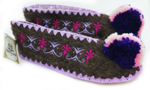 Traditional Greek Woolen Slippers 100/% Wool Brown Leather Soles Unisex 5.5 uk 38