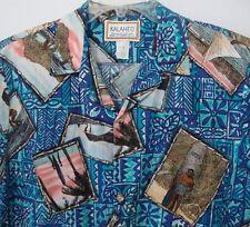 Kalaheo Large Blue Hawaiian Aloha Shirt Duke Kahanamoku Longboard Surfing Photos