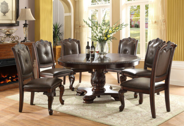 NEW PRINCETON FORMAL ROUND CHERRY FINISH CARVED WOOD LEATHER DINING TABLE  SET