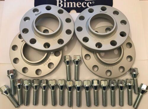 Rueda De Aleación Separadores BIMECC 15mm x2 25mm x2 Silver Pernos M14X1.5 para Audi 66.6