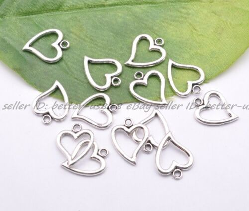 20Pcs Tibet Silver Lovely Heart Charms Pendentif Bijoux Finding 14X17MM A3001