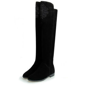 WOMEN-SHOES-BLACK-EMBELLISHED-MICROFIBRE-SUEDE-FLAT-HEEL-OVER-KNEE-LONG-BOOTS