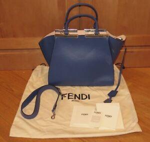Fendi Vitello Dolce Petite 3 Jours Tote Neon Blue Rosa Plasters Handbag