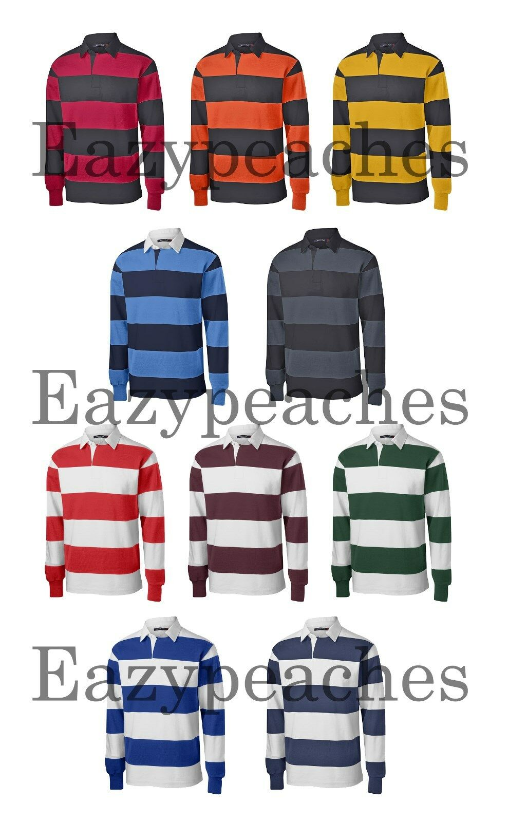 PEACHES NEW Men's STRIPE, Long Sleeve, RUGBY SHIRTS, Sport Polo, S-XL 2XL 3X 4X