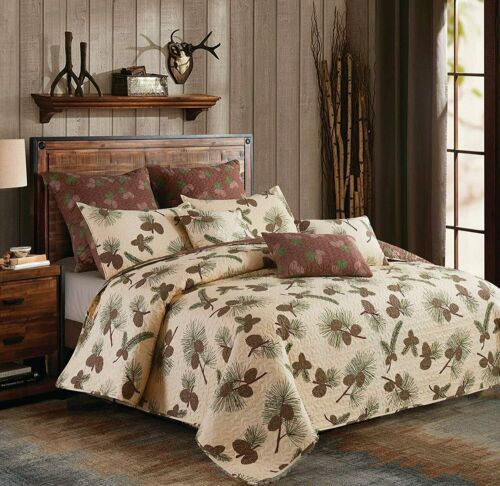 Forest Pine cone Quilt and Standard Shams Bedding Set Lodge QUEEN Quilt Set