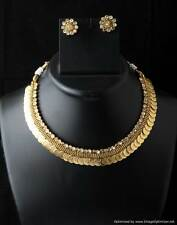 Indian Bollywood Designer Laxmi Temple Coin Gold Plated Polki Necklace Set