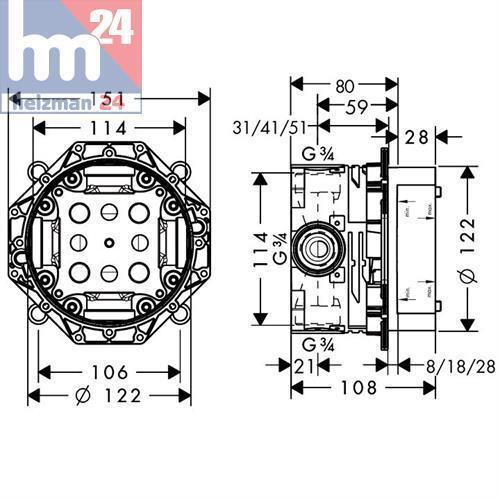 Hansgrohe Metris Unterputz Wannen Armatur Set mit ibox /& Fixfit 31493000