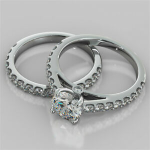 3.05 Ct Round Moissanite Engagement Band Set 18K Solid White Gold Ring Size 6.5