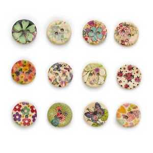 50pcs Owl Theme Printing Wooden Buttons for Scrapbook Sewing Handwork Decor 15mm