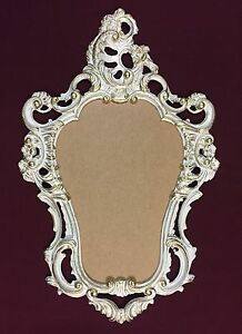Wandspiegel Oval Vintage Badspiegel Antik Weiss Gold 50x76 Barock