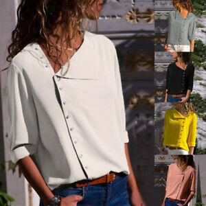 Women-039-s-Rollable-Loose-Tops-Button-Front-Irregular-Long-Sleeve-Tops-Shirts