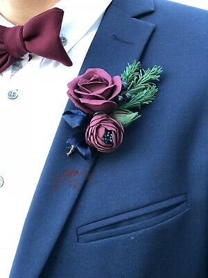 burgundy boutonniere fall wedding fall boutonniere winter bouutonniere winter wedding Marsala and cream boutonniere