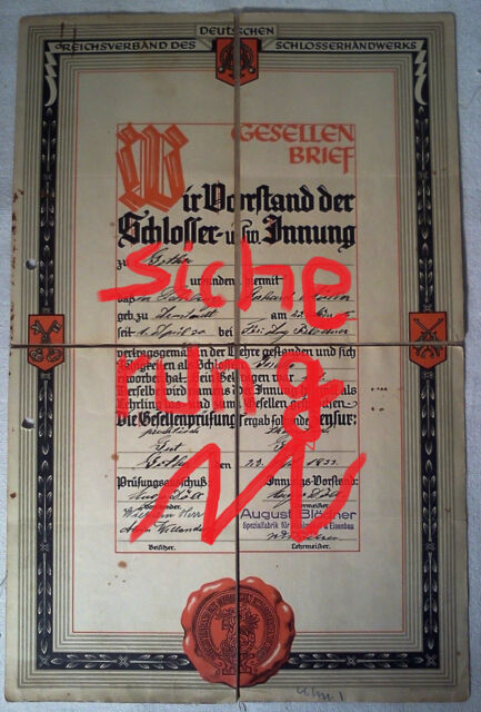 original Gesellenbrief, Reichsverband des Deutschen Schlosserhandwerks