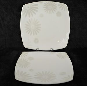 222-Fifth-Alice-Platinum-10-034-Square-Dinner-Plate-White-Floral-LOT-of-2