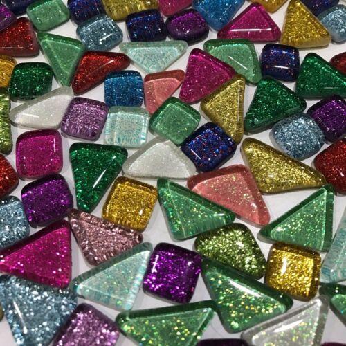 120g 70pcs Colorful Glitter Shiny Glass Mosaic Tiles Bulk Art DIY Hand Craft UK