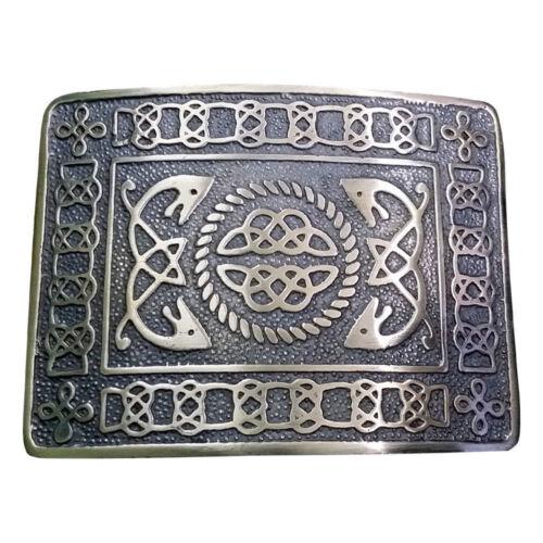 Details about  /Scottish Highland Leather Black Plain Kilt Belt Celtic Knot Buckle Antique Set