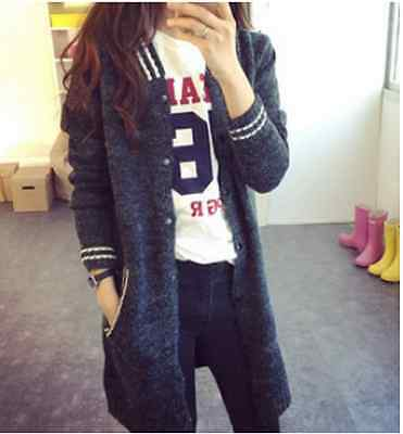 New Women's Long Sleeve Knitted Sweater Jacket Coat Casual Loose Cardigan Jumper